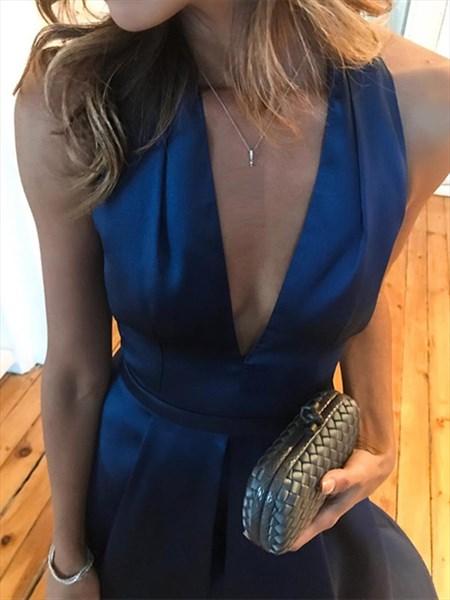 Royal Blue Deep V-Neck A-Line Halter Pleated Backless Evening Dress