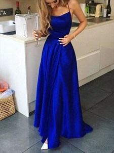 Royal Blue Split Front Long Evening Dress With Criss-Cross Straps