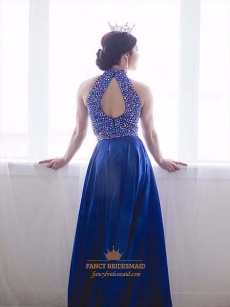 High Neck Two Piece Long Beaded-Bodice Prom Dress With Back Cut Out