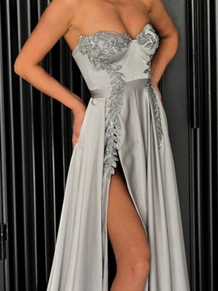 Grey A-Line Sweetheart Lace Appliques Split Front Evening Dress