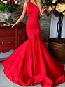 Red Sleeveless One Shoulder Mermaid Floor-Length Evening Dress