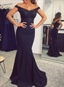 Navy Blue Off The Shoulder Beaded Lace Applique Mermaid Evening Dress