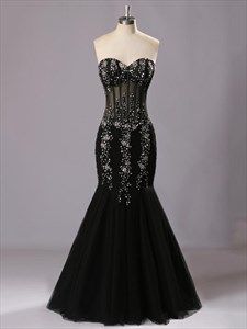 Black Sweetheart Floor-Length Beading Mermaid Evening Dress
