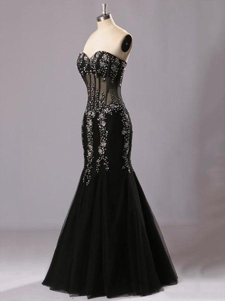 Black Sweetheart Floor-Length Beading Mermaid Evening Dress