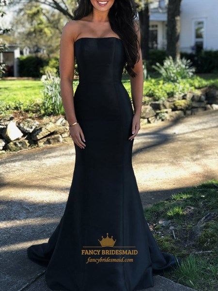 Strapless Mermaid/Trumpet Black Floor Length Evening Dress