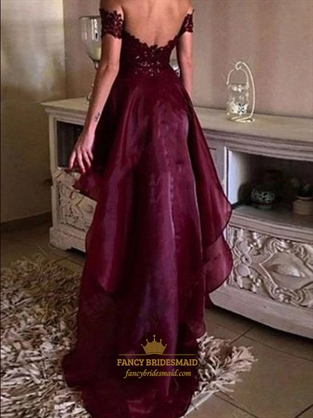Burgundy Off The Shoulder Tiered Short Sleeves High Low Prom Dress