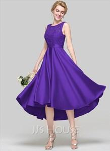 Custom A-Line Scoop Neck Asymmetrical Satin Bridesmaid Dress