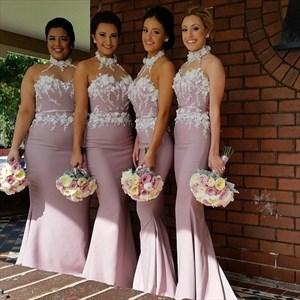 Pink Halter Long Bridesmaid Dress With Floral Applique Bodice