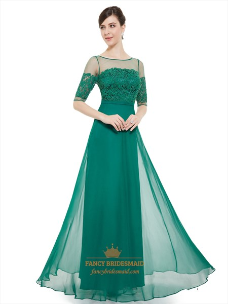 Sheer Lace Bodice Half Sleeve A Line Long Evening Dress