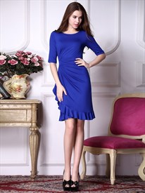 Royal Blue Prom Dresses With Sleeves,Royal Blue Bodycon Dress