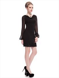 Black Skater Dress With Long Sleeves,Black Mini Dresses With Long Sleeves