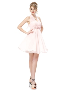 Light Pink Halter Bridesmaid Dresses,Petal Pink Junior Chiffon Bridesmaid Dresses