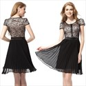 Black Short Sleeve Lace Pleated Chiffon Dress,Black Lace Cocktail Dress With 3/4 Sleeves