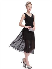 Black Dress With Long Chiffon Overlay,Short Black V Neck Dress