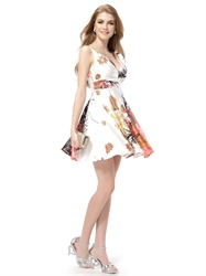Floral Print Skater Dress Next,White Floral Print Summer Dress,Floral V Neck Dress
