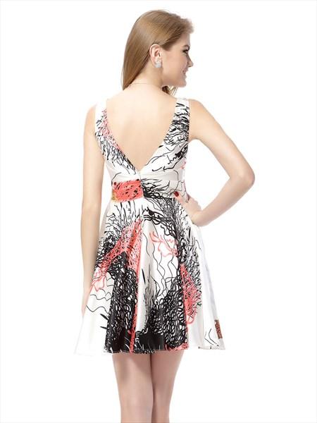 Floral Print Skater Dress Next,White Floral Print Summer Dress,Floral V Neck Dress