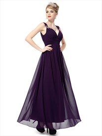 Purple Prom Dress With Open Back Straps,Dark Purple Prom Dresses Long 2019
