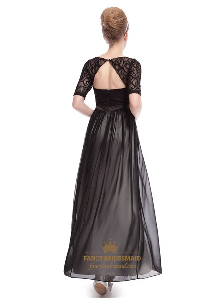 Elegant Black Dresses With Lace Long Sleeves Overlay,Long Black Maxi Dress With Sleeves