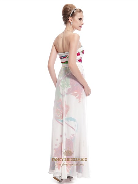 White Long Floral Printed Dress,Strapless Floral Maxi Dress,White Floral Prom Dresses