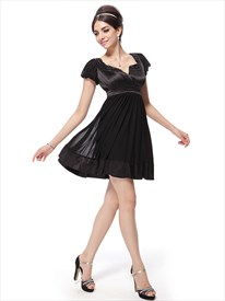 Black Cocktail Dresses With Cap Sleeves,Black Cocktail Dresses For Plus Size Women