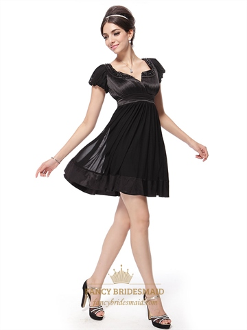 Black Cocktail Dresses With Cap Sleeves Black Cocktail