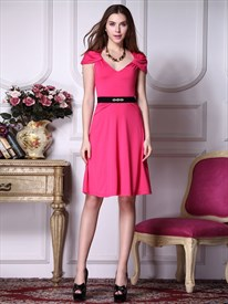 Short Hot Pink Homecoming Dresses,Hot Pink Dresses With Cap Sleeves For Juniors