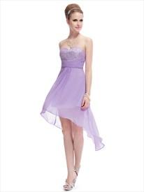 Short Lilac Bridesmaid Dresses Chiffon ,Lilac High Low Prom Dresses