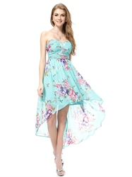 Floral High Low Prom Dresses ,Aqua Blue Floral Dress,Turquoise Floral Dress