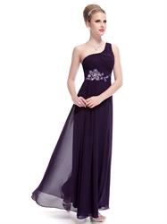 Dark Purple One Shoulder Prom Dress,Eggplant Purple Prom Dresses