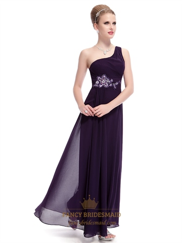 Dark Purple One Shoulder Prom Dress,Eggplant Purple Prom Dresses