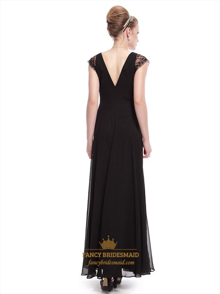 Black Prom Dress With Cap Sleeves,Long Black V Neck Dress With Sleeves