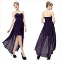 Dark Purple High Low Prom Dress,Purple Sweetheart Neckline Prom Dress Long