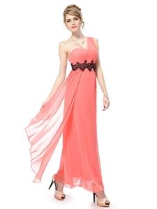 Coral One Shoulder Chiffon Long Prom Dress,Coral One Shoulder Bridesmaid Dresses