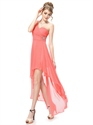 Coral One Shoulder Chiffon Dress,Coral High Low Prom Dresses