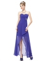 Blue Sweetheart Beaded Chiffon Prom Dress,Blue High Low Dresses For Teenagers