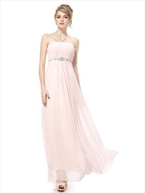 Very Light Pink Bridesmaid Dresses Chiffon Strapless,Long Pale Pink Bridesmaid Dresses