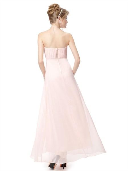Very Light Pink Bridesmaid Dresses Chiffon Strapless,Long Pale Pink Bridesmaid Dresses