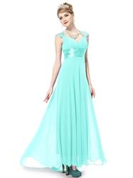 Long Aqua Prom Dresses With Cap Sleeves,Aqua Blue Evening Gown