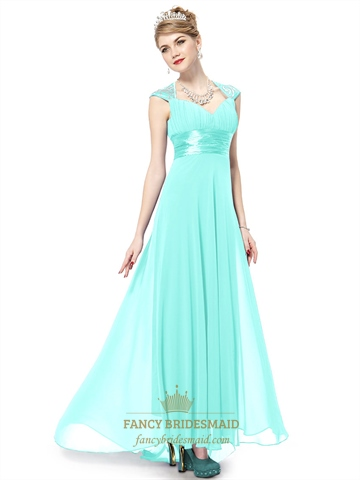 Long Aqua Prom Dresses With Cap Sleeves,Aqua Blue Evening Gown