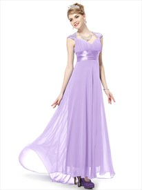 Lilac Dresses With Cap Sleeves,Lilac Long Prom Dresses With Straps