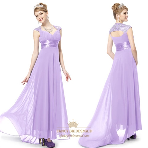 Lilac Dresses With Cap Sleeves,Lilac Long Prom Dresses With Straps ...