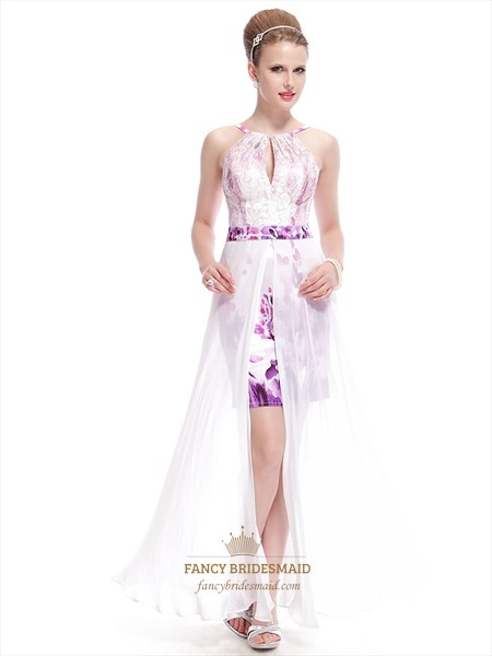 Overnight Shipping White Floral Print Maxi Dress With Long Back And Short Front