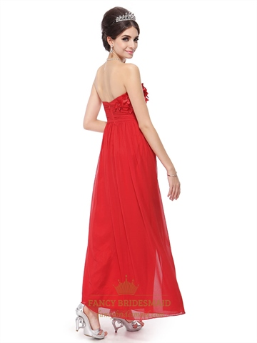 Long Red Sweetheart Prom Dress With Flowers On Top,Red Prom Dresses Open Back