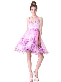 Strapless Floral Print Cocktail Dress,Short Floral Cocktail Dresses With Straps Australia