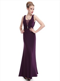 Purple Chiffon Prom Dresses Beading One Shoulder Long Evening Dresses