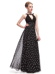 Black And White Polka Dot Dress Outfit,Black Halter Neck Maxi Dress