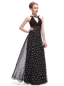 Black And White Polka Dot Dress Outfit,Black Halter Neck Maxi Dress