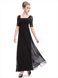 Black Prom Dresses With Lace Sleeves,Black Lace Sleeve Prom Dress
