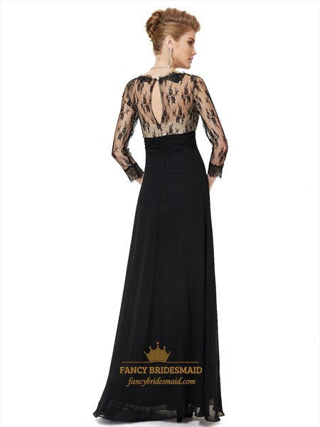 Black Prom Dresses With Lace Sleeves,Black And White Prom Dresses With Lace Overlay Sleeves