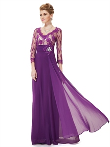 Purple Mother Of The Bride Dress With Sleeves,Mother Of The Bride Dresses With Lace Bodice